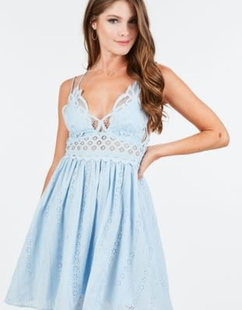 Lace brallette mini dress with pockets