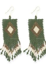 Ink+Alloy Geometric Fringe Seed Bead Earrings