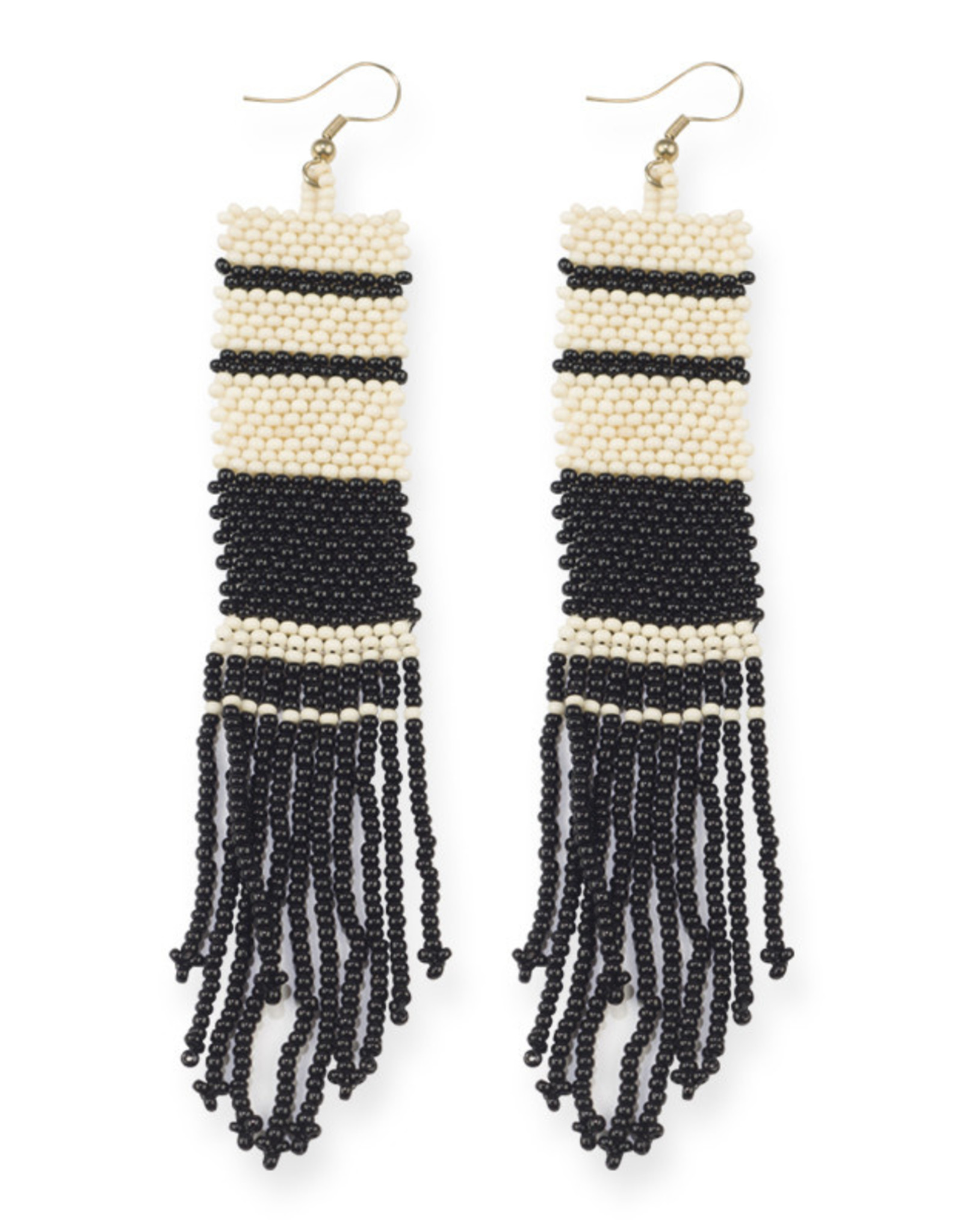 Ink+Alloy Striped Seed Bead Earrings