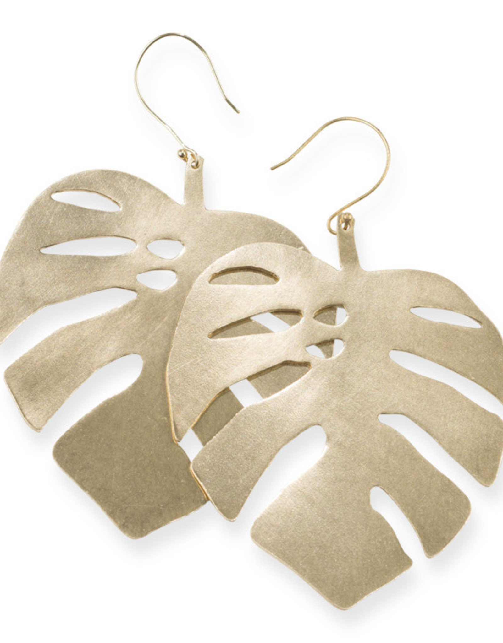 Ink+Alloy Monstera Leaf Earrings