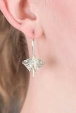 In BlissfulCo Sterling Silver Ginko Leaf Earrings