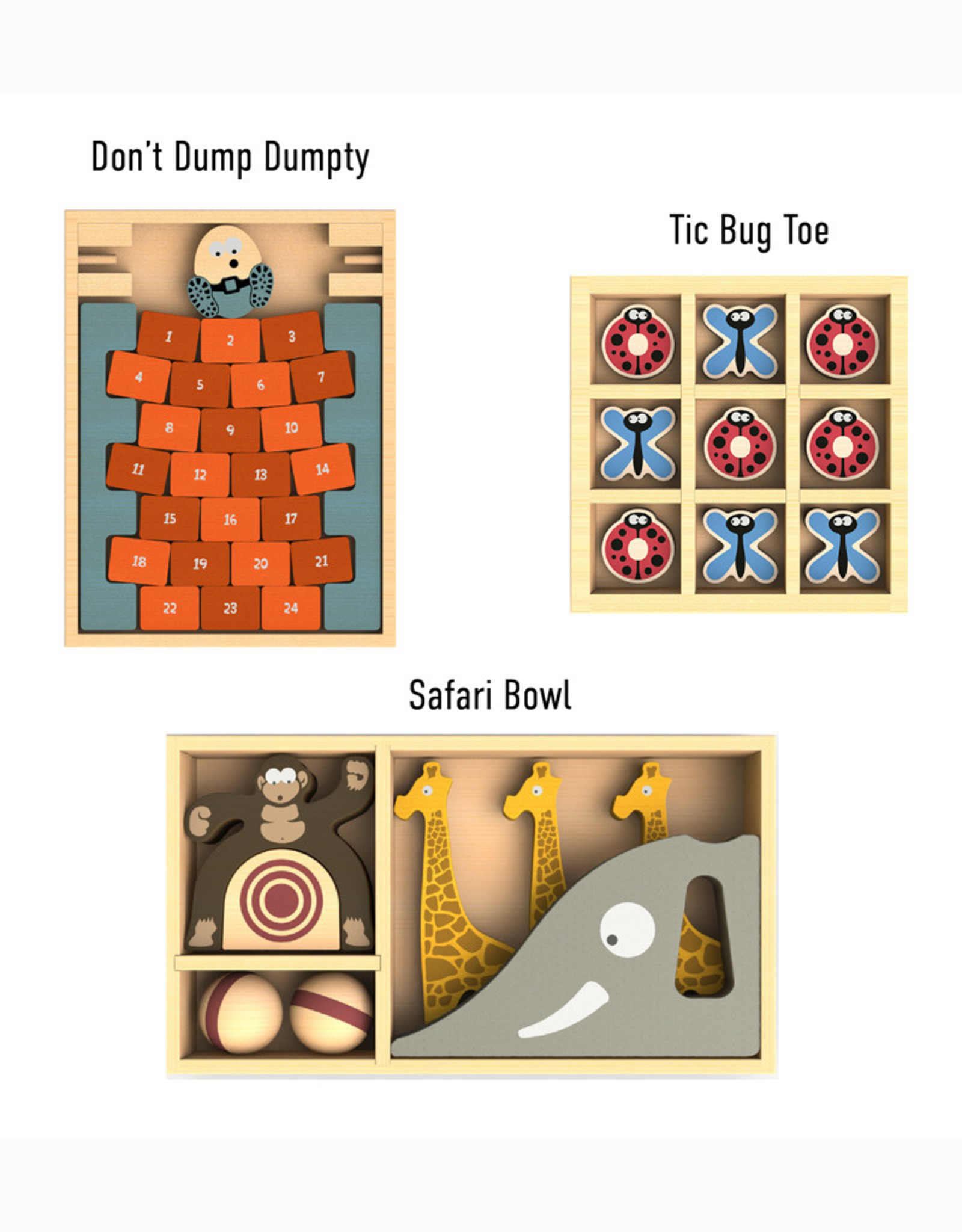 BeginAgain Game Bundle: Don't Dump Dumpty, Safari Bowl, TicBugToe