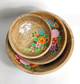 One Hundred 80 Degrees Hand Painted Floral Bowl 10""