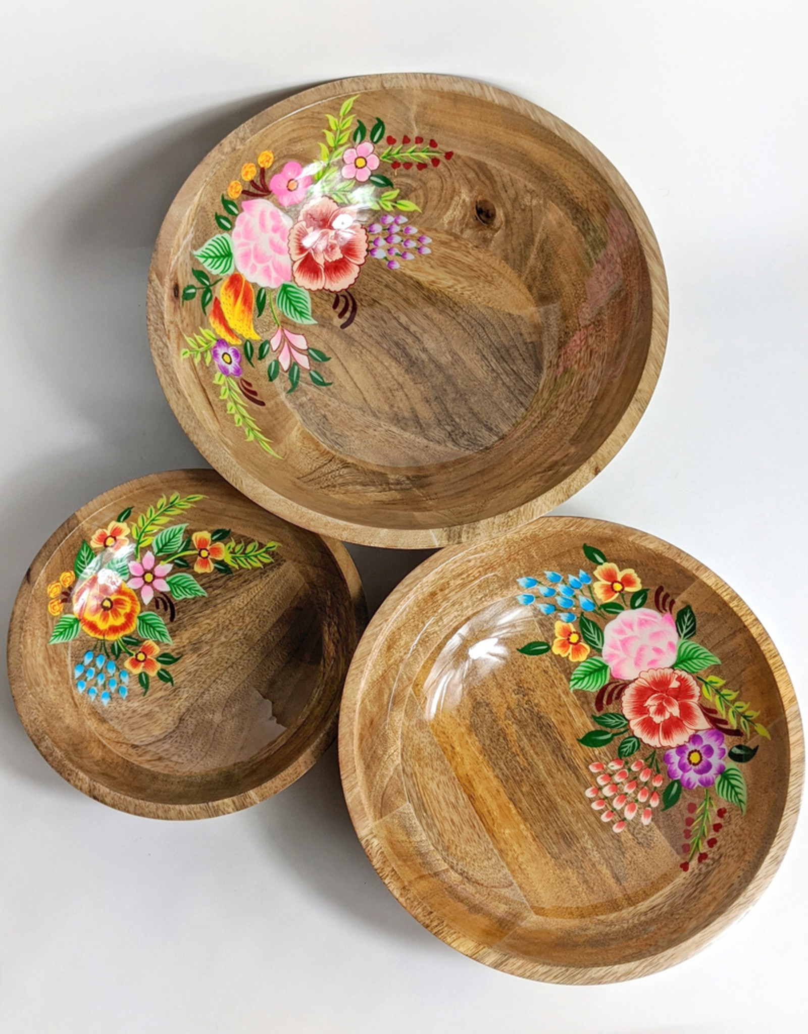 """One Hundred 80 Degrees Hand Painted Floral Bowl 10"""""""