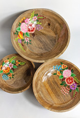 One Hundred 80 Degrees Hand Painted Floral Bowl 12""