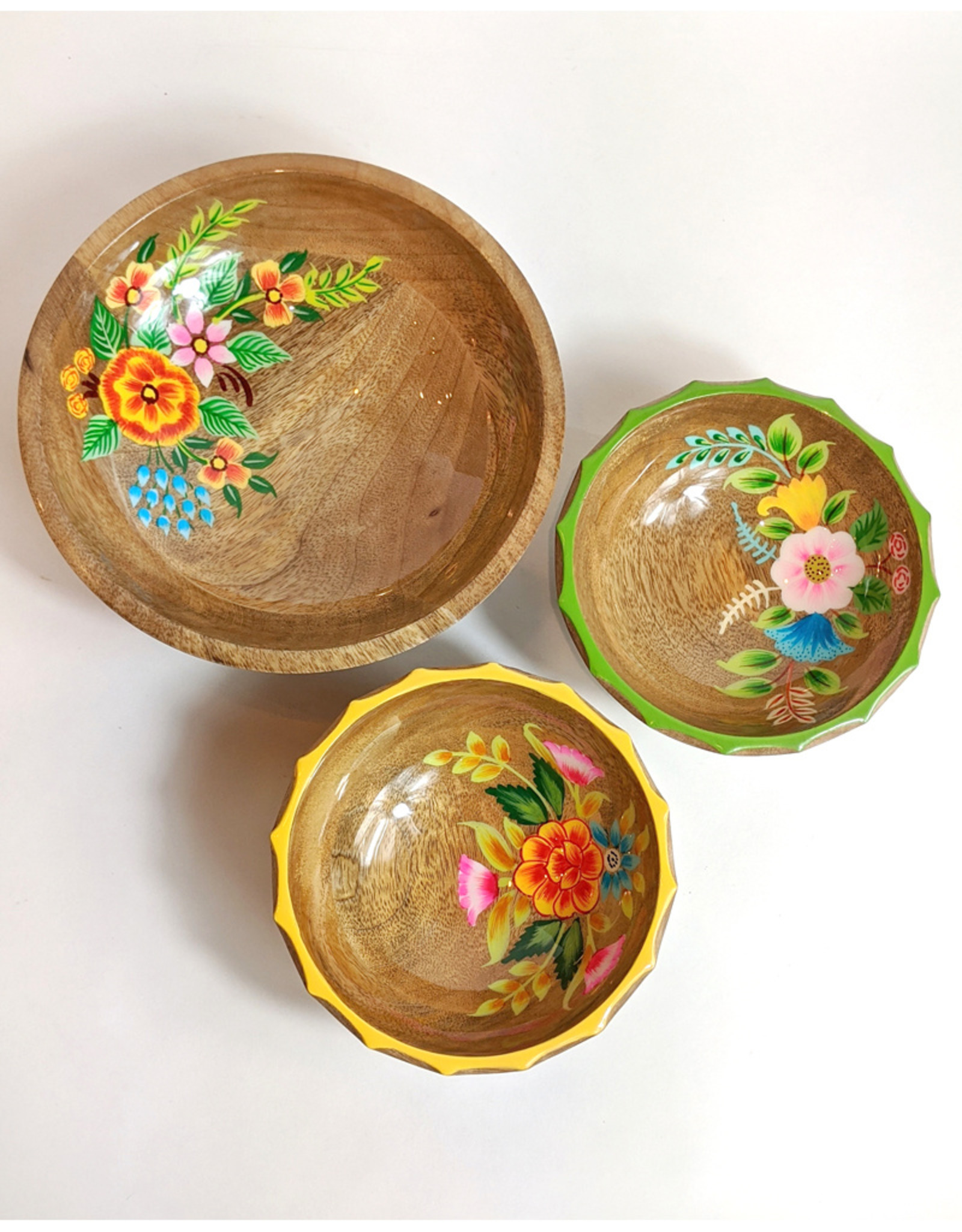 One Hundred 80 Degrees Hand Painted Floral Bowl 8""