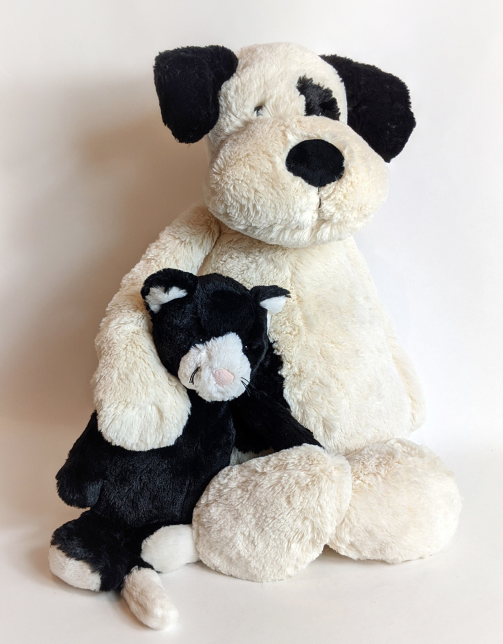 JellyCat Bashful Black and Cream Puppy Large
