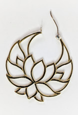 In BlissfulCo Handmade Lotus Hoops Brass