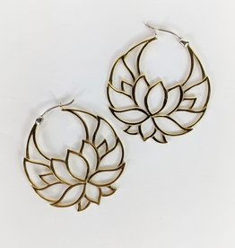 In BlissfulCo Handmade Lotus Hoops Brass