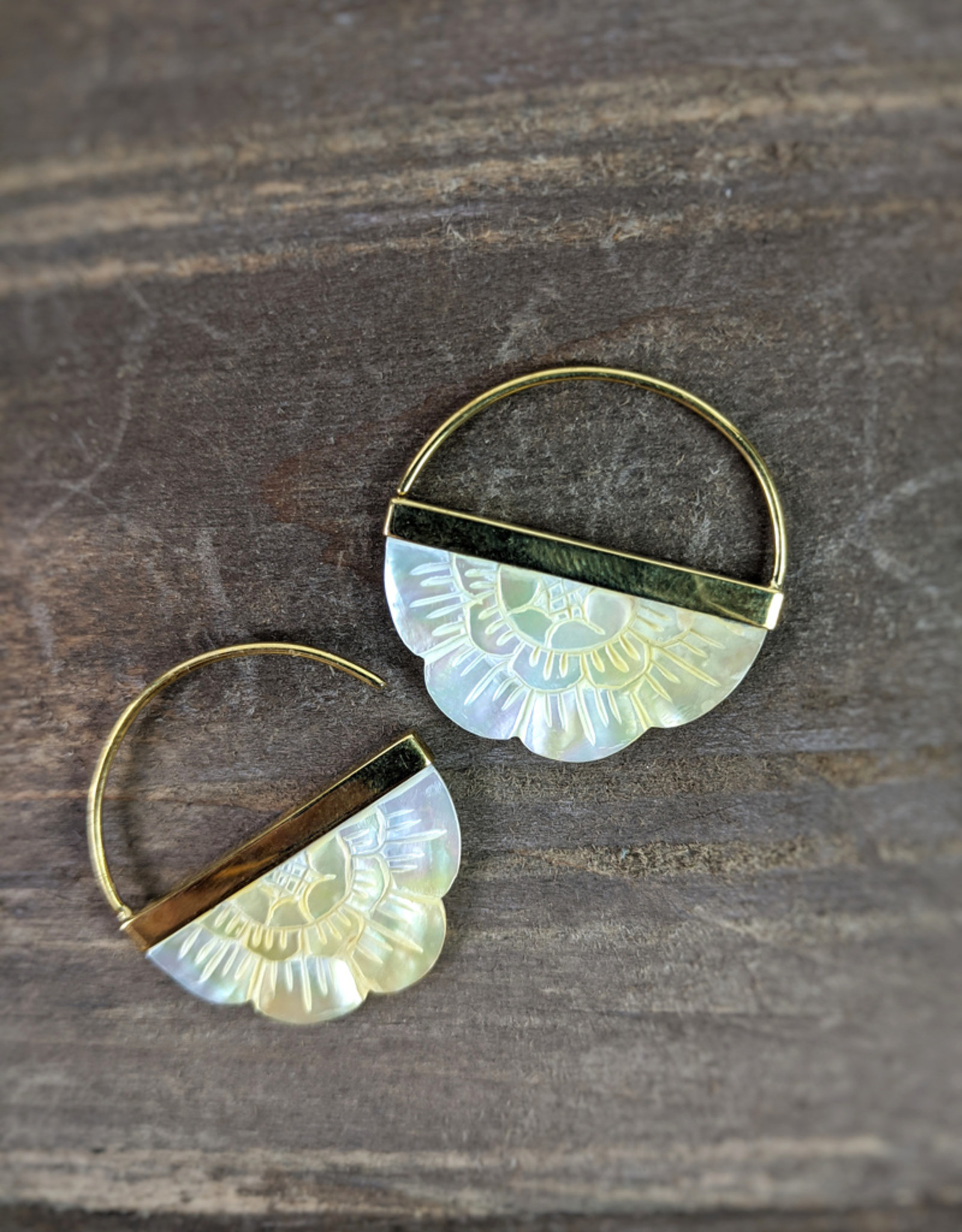 In BlissfulCo Handmade Carved Mother of Pearl Hoops, small