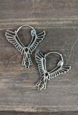 Handmade Sterling Silver Thunderbird Hoops
