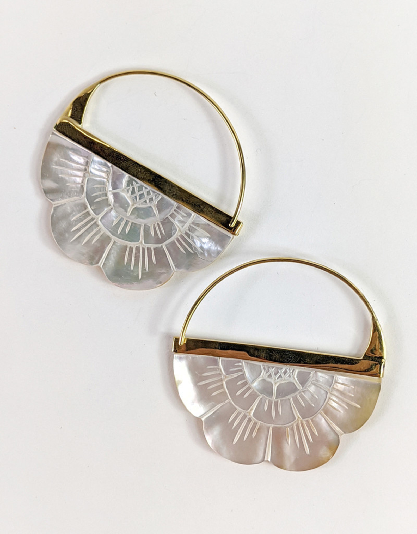 In BlissfulCo Handmade Carved Mother of Pearl Hoops, large