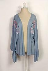 Style U Blue Embroidered Swiss Dot Kimono