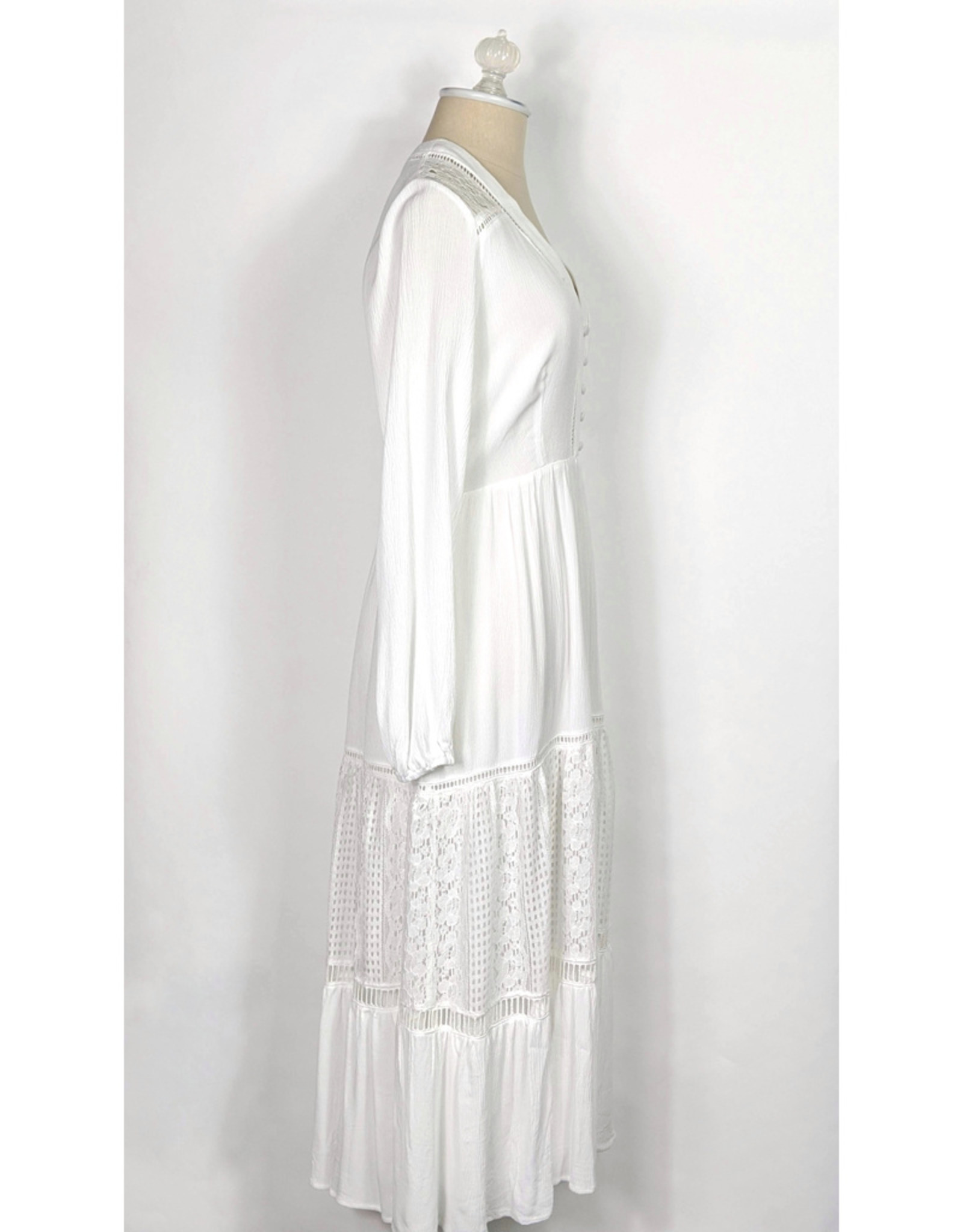 Lush White LS Crochet Trim Midi Dress