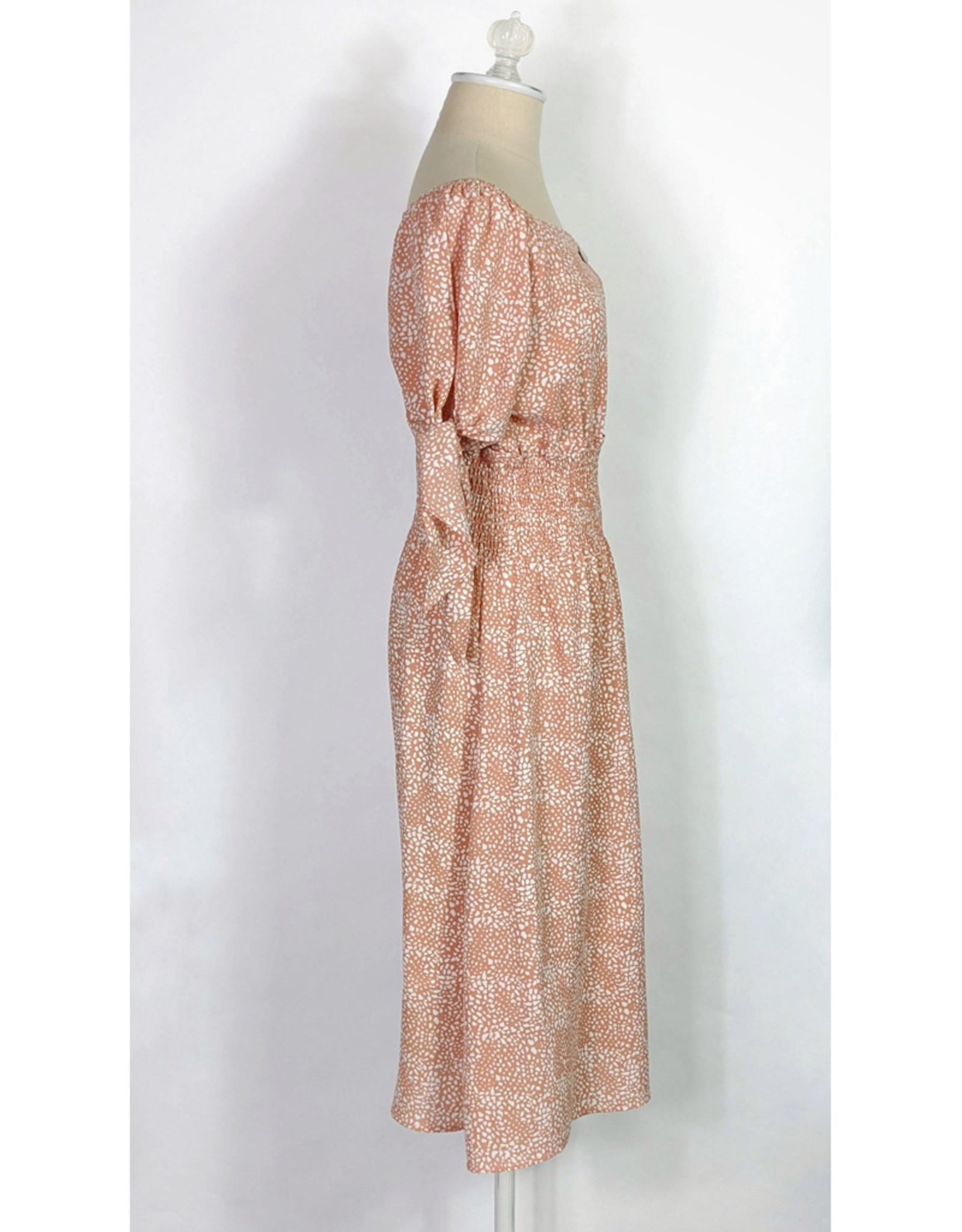 Pol Tangerine Print Off Shoulder Dress