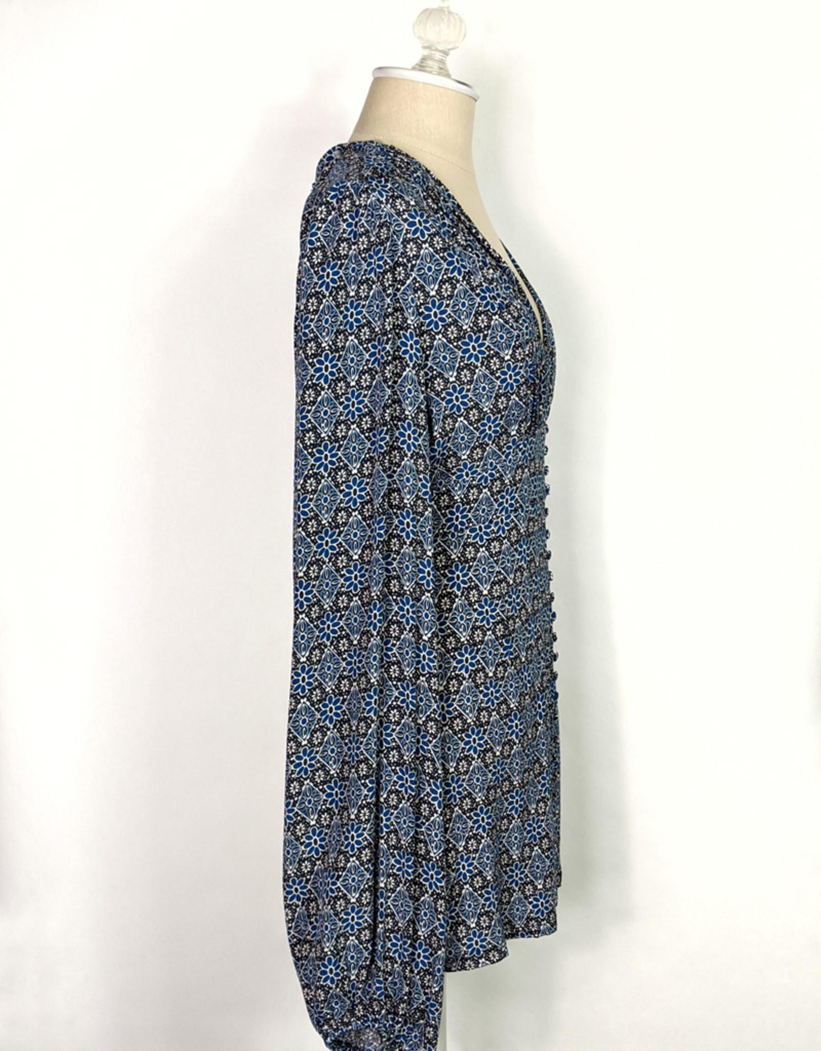 Skylar Madison Blue Print LS Button Minidress