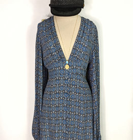 Skylar Madison Blue Print LS Button Minidress