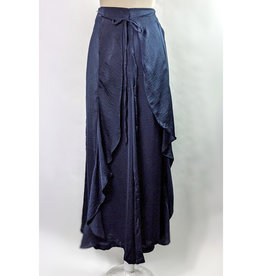 Easel Navy Satin Tulip Pants