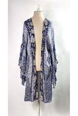 Angie Blue Print Kimono w/Long Sleeves