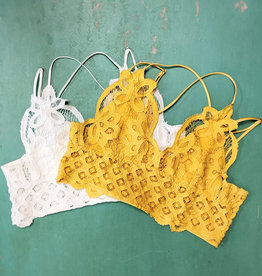 Leto Accessories Crochet Lace Longline Bralette