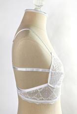 Leto Accessories White Lace Cut Out Bralette