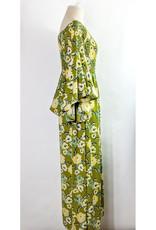 KyeMi Moss Floral Print Off Shoulder Maxi Dress
