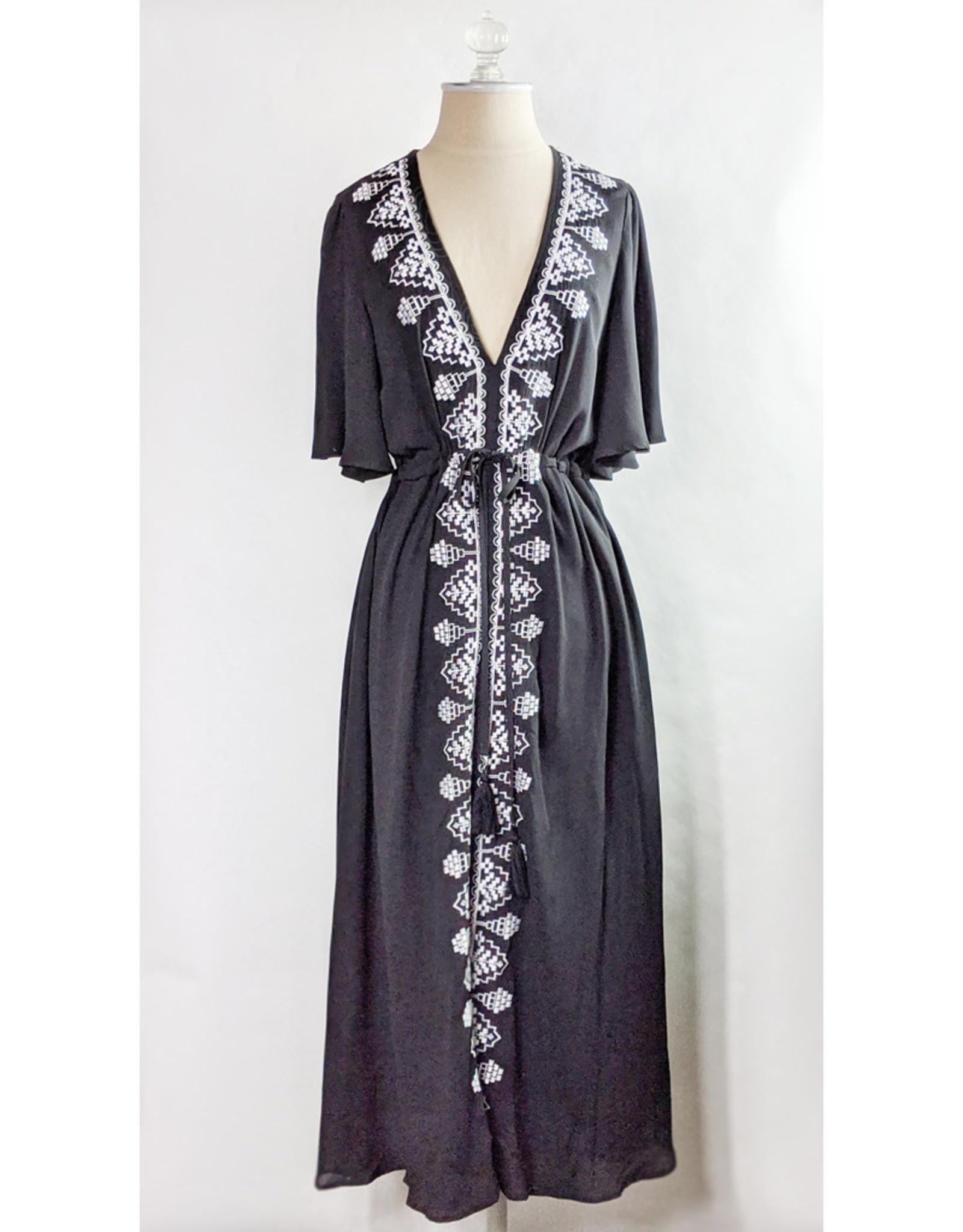 Strut & Bolt Black Embroidered V-Neck Dress