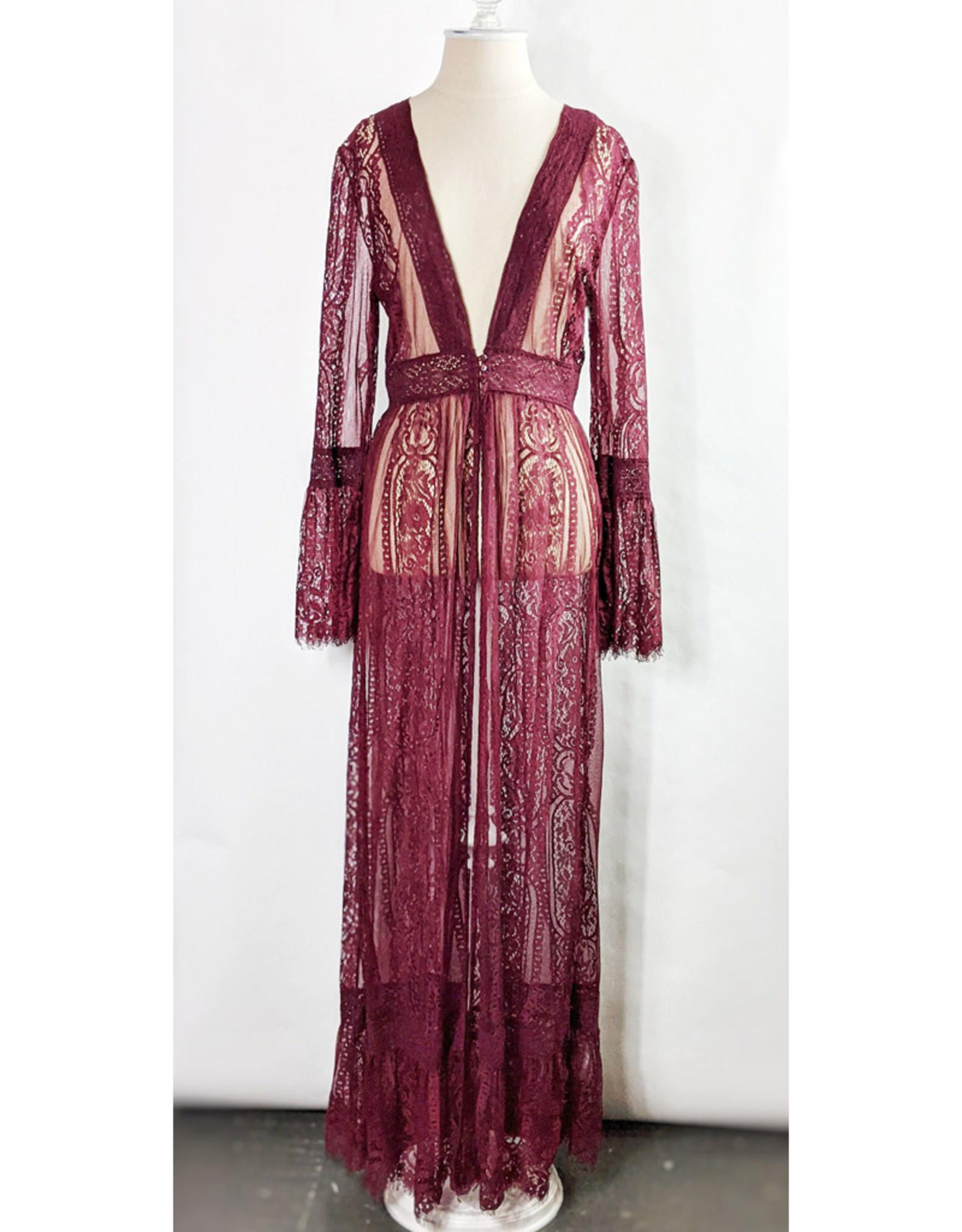 In Loom Merlot Lace Duster Kimono