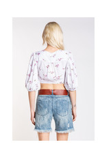 Skylar Madison White & Purple Floral Tie Crop Top