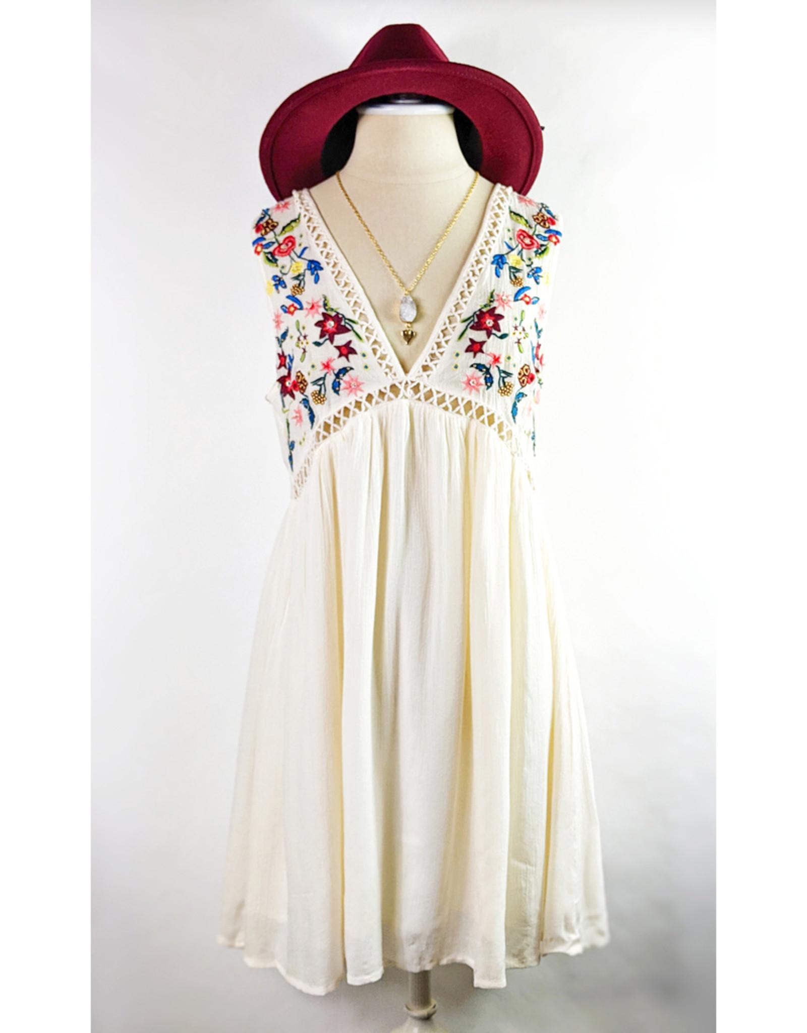 ILLA ILLA Floral Embroidered Swing Mini Dress