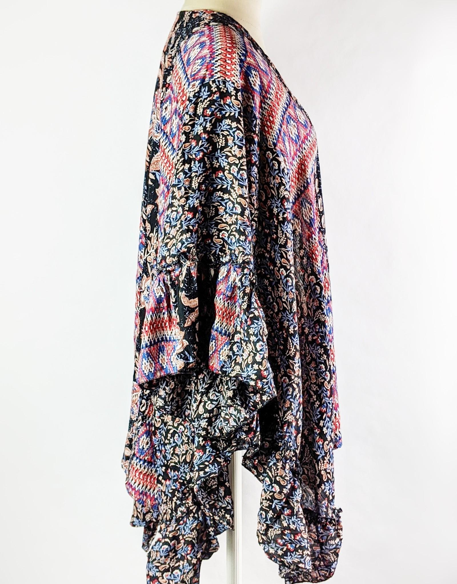 Angie Ruffle Sleeve Print Kimono