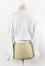 Skylar Madison White Full Sleeve Crop Top w/Buttons