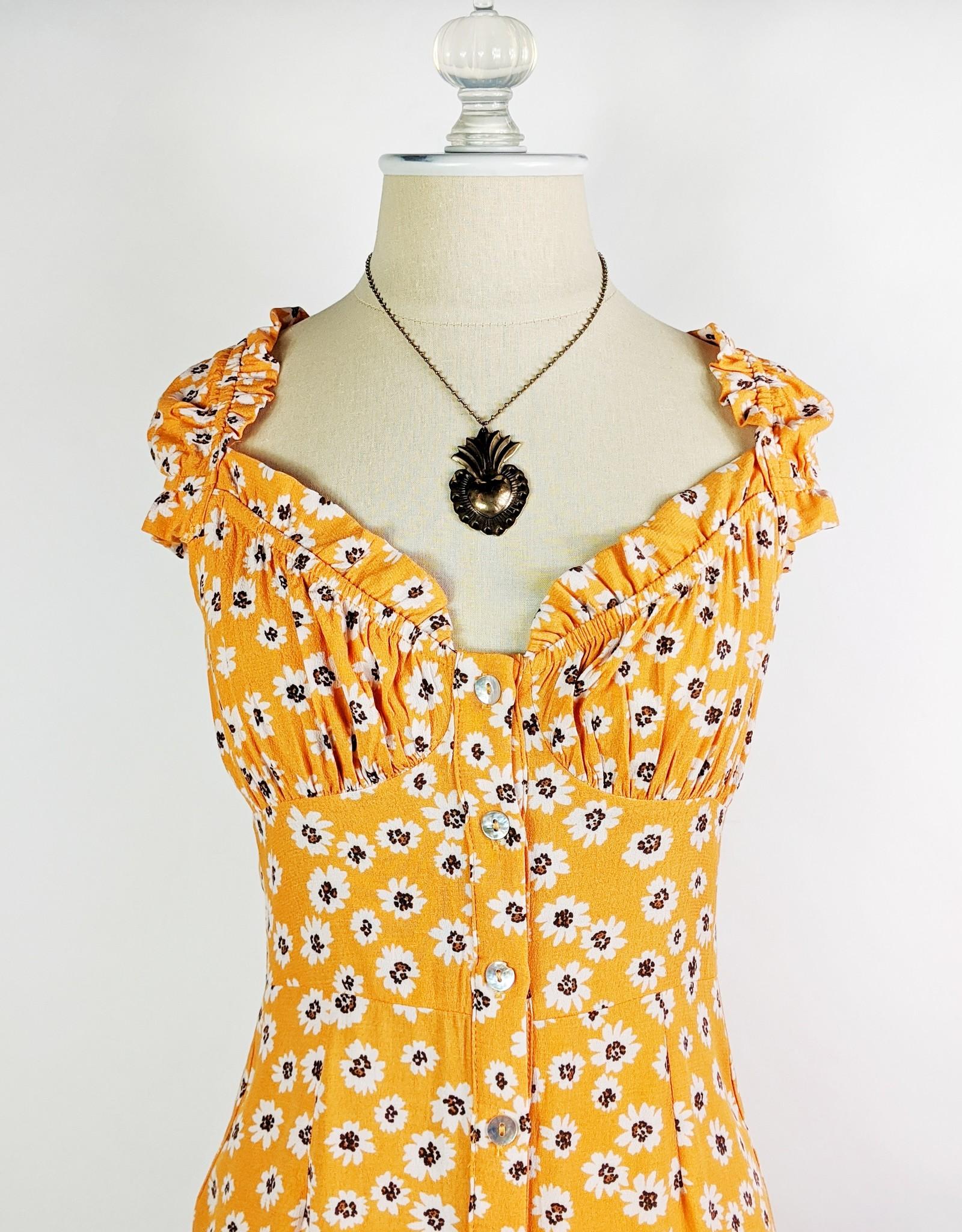 Skylar Madison Orange Daisy Mini Dress