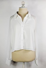 Le Lis Cropped Slouchy White Button Down