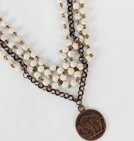 The Jewelry Junkie White Turquoise & Antique Coin Choker