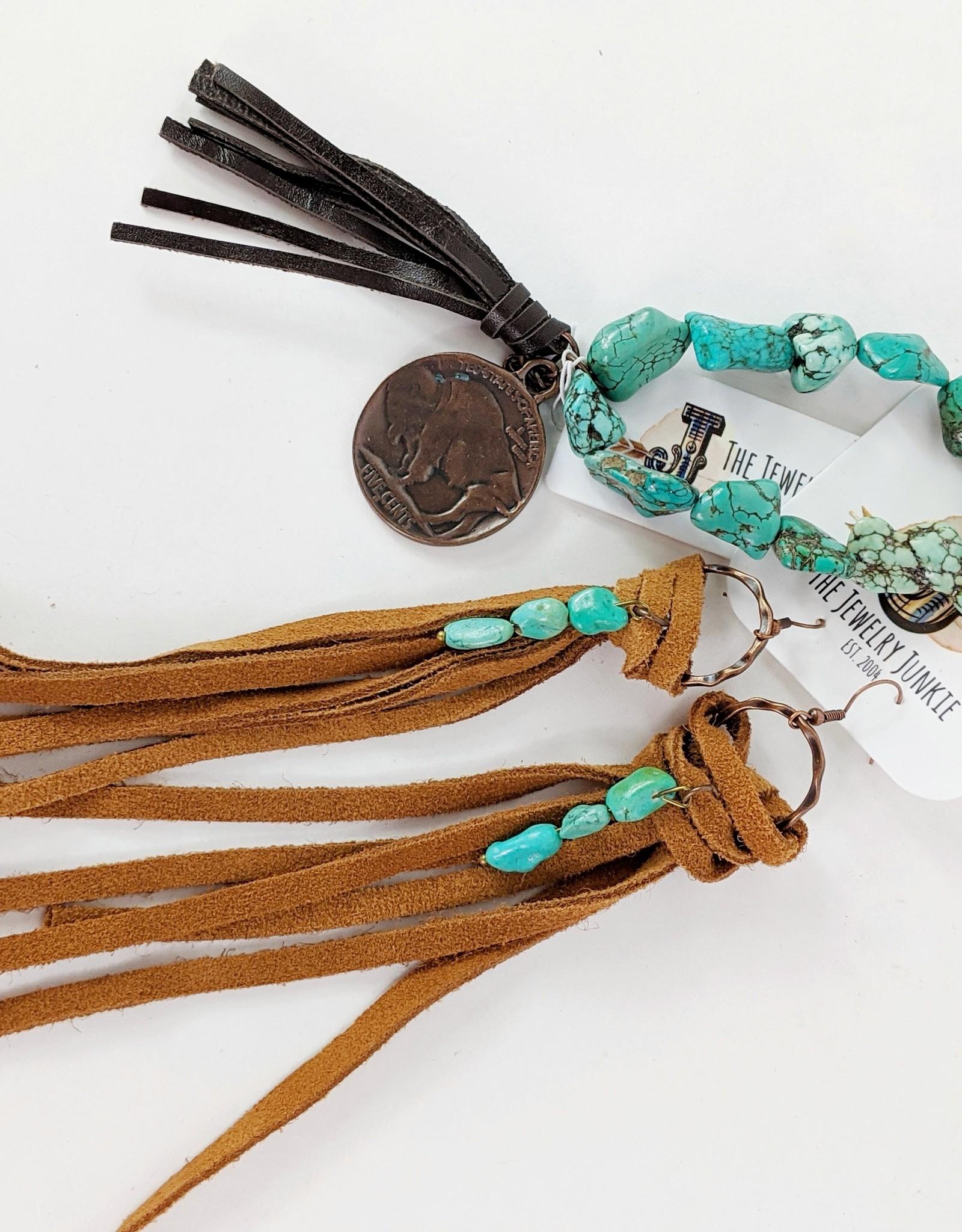 Long Suede Fringe & Turquoise Earrings