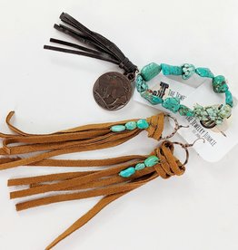 The Jewelry Junkie Long Suede Fringe & Turquoise Earrings