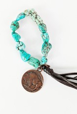 The Jewelry Junkie Turquoise Beaded Bracelet w/Copper Coin & Leather Tassel