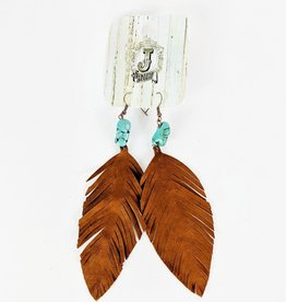 The Jewelry Junkie Leather Fringe Leaf Earrings w/Turquoise