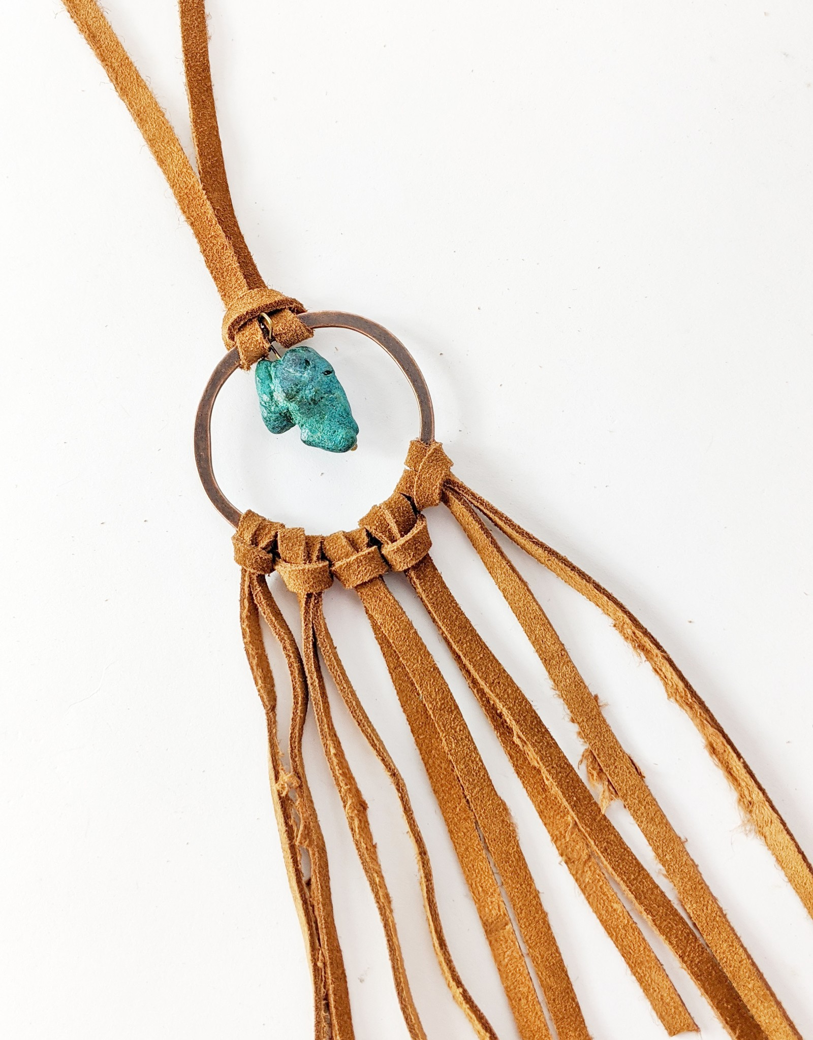 Leather & Turquoise Dream Catcher Necklace