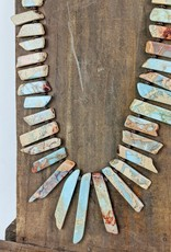 The Jewelry Junkie Long Agua Terra Chunk Necklace on Leather