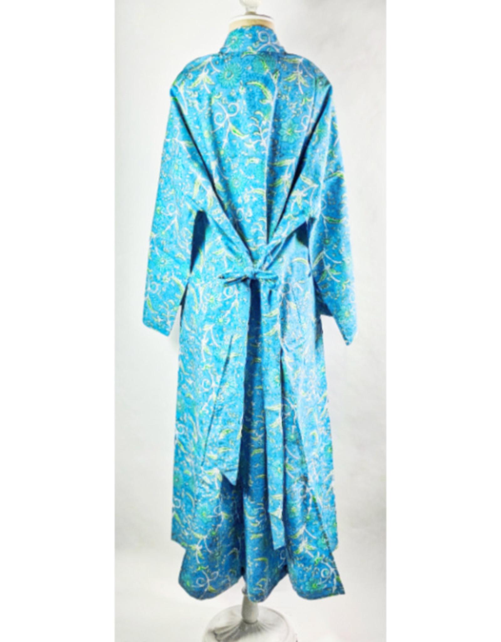 Natural Habitat Indian Cotton Robe Sulak Flower Blue