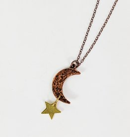 Bird in the Sky Copper Large Moon & Star Necklace