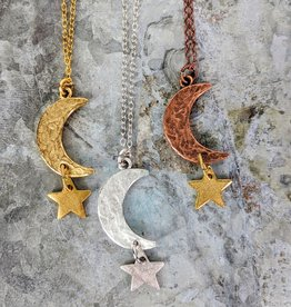 Bird in the Sky Silver Large Moon & Star Necklace