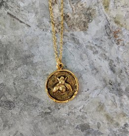 Bird in the Sky Gold Bee Necklace