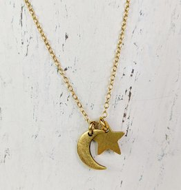 Bird in the Sky Gold Moon & Star Necklace