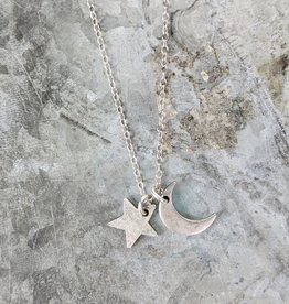Bird in the Sky Silver Moon & Star Necklace