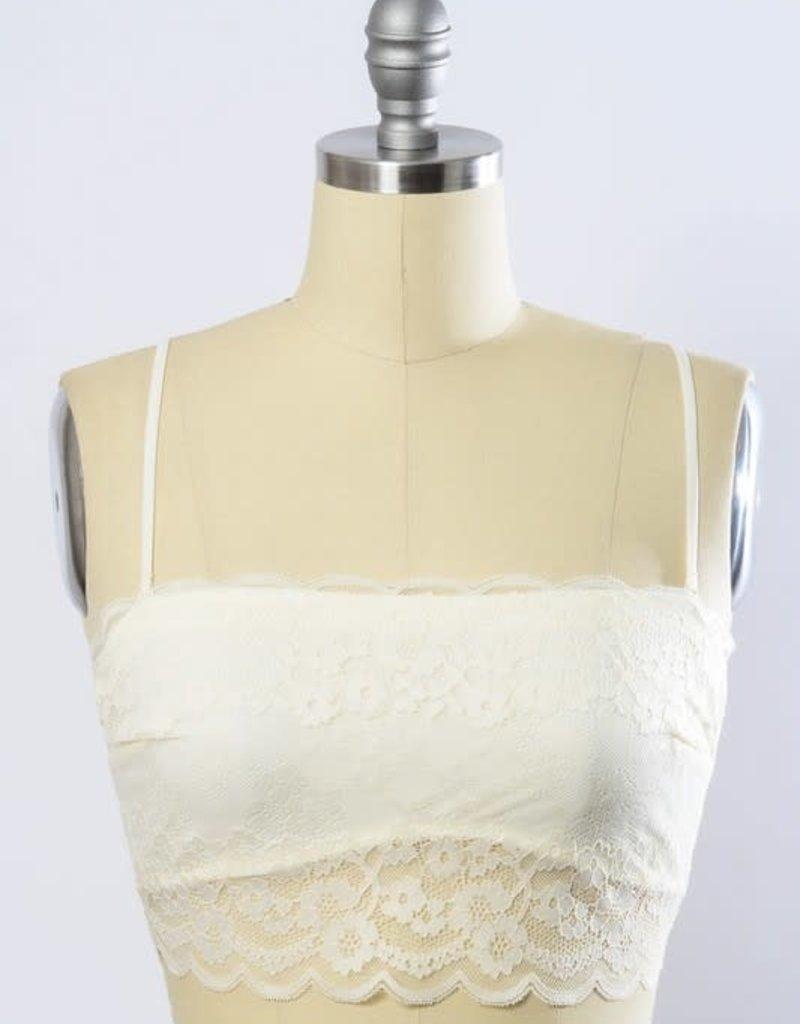 Leto Accessories Wide Lace Bandeau w/Detachable Straps