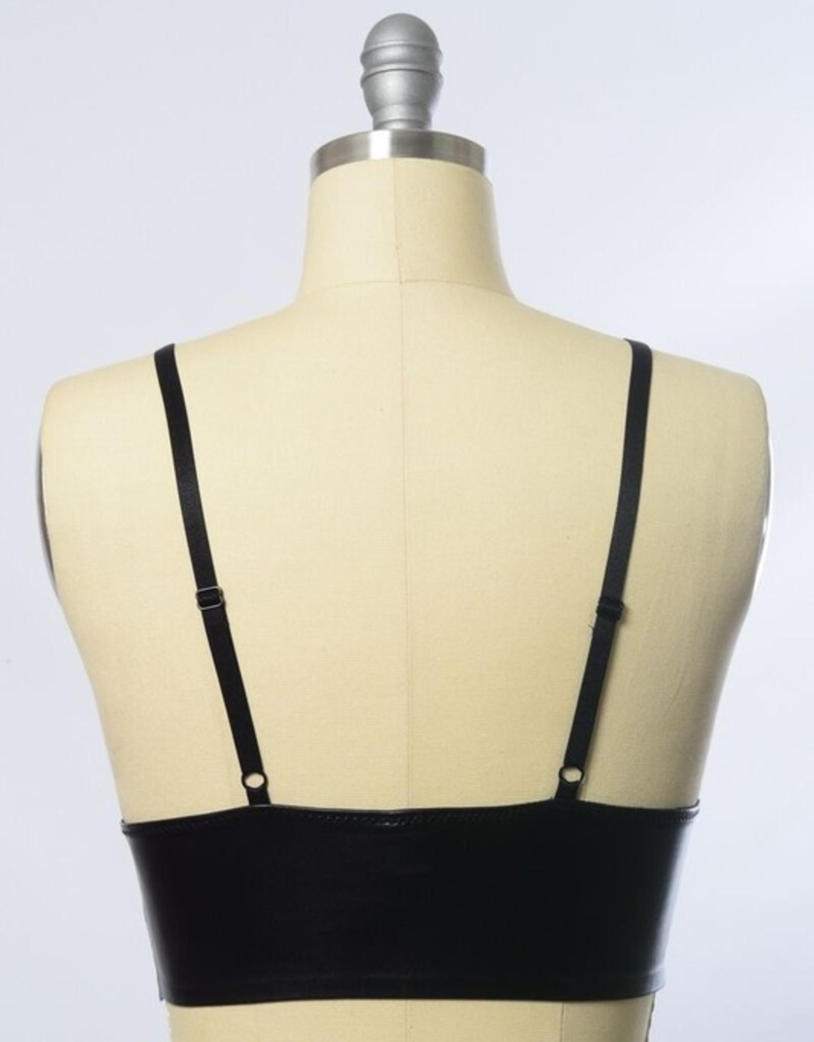 Leto Accessories Vegan Leather Plunge Bralette