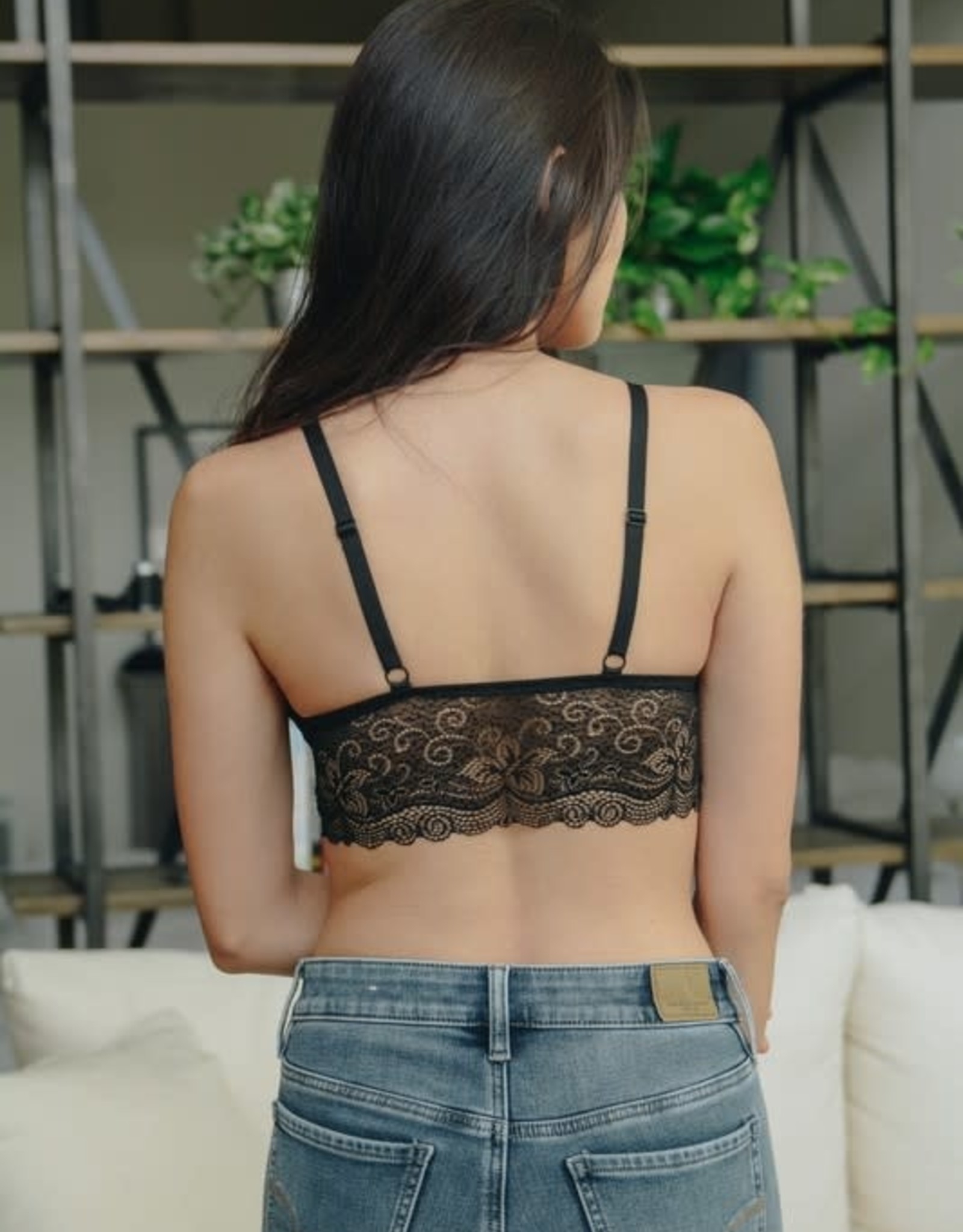 Leto Accessories Velvet Strappy Lace Bralette